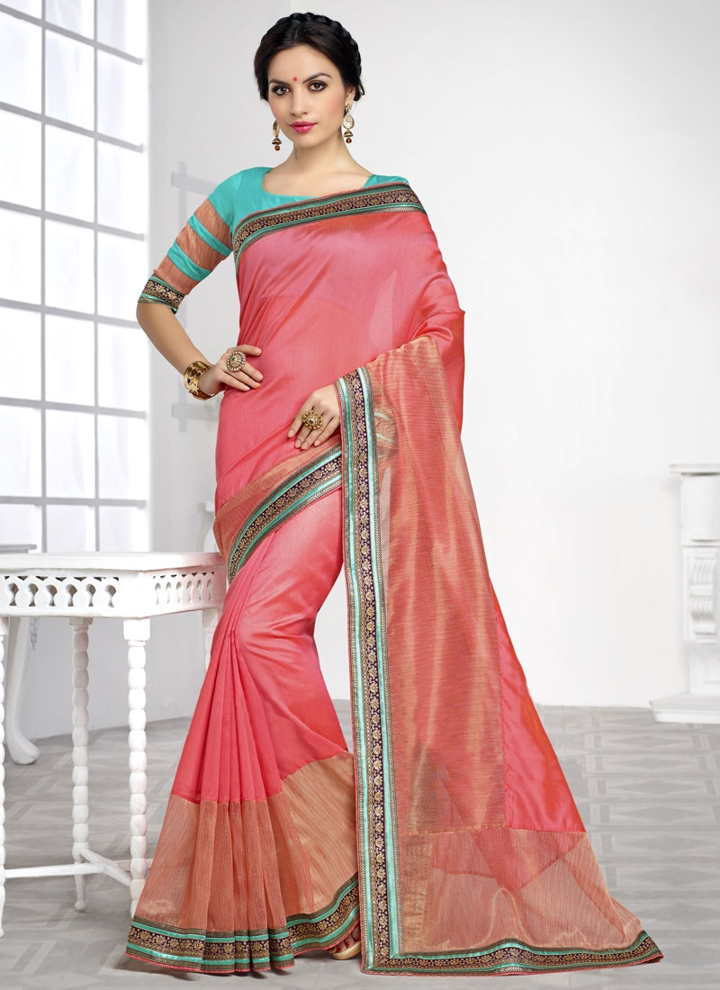 Delectable Salmon Color Silk Party Wear Saree