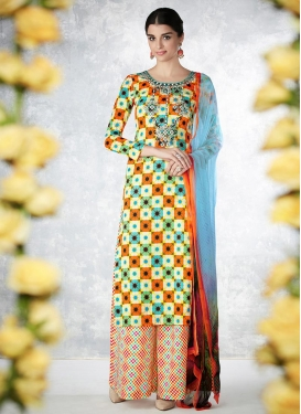 Delectable Trendy Palazzo Salwar Suit For Festival