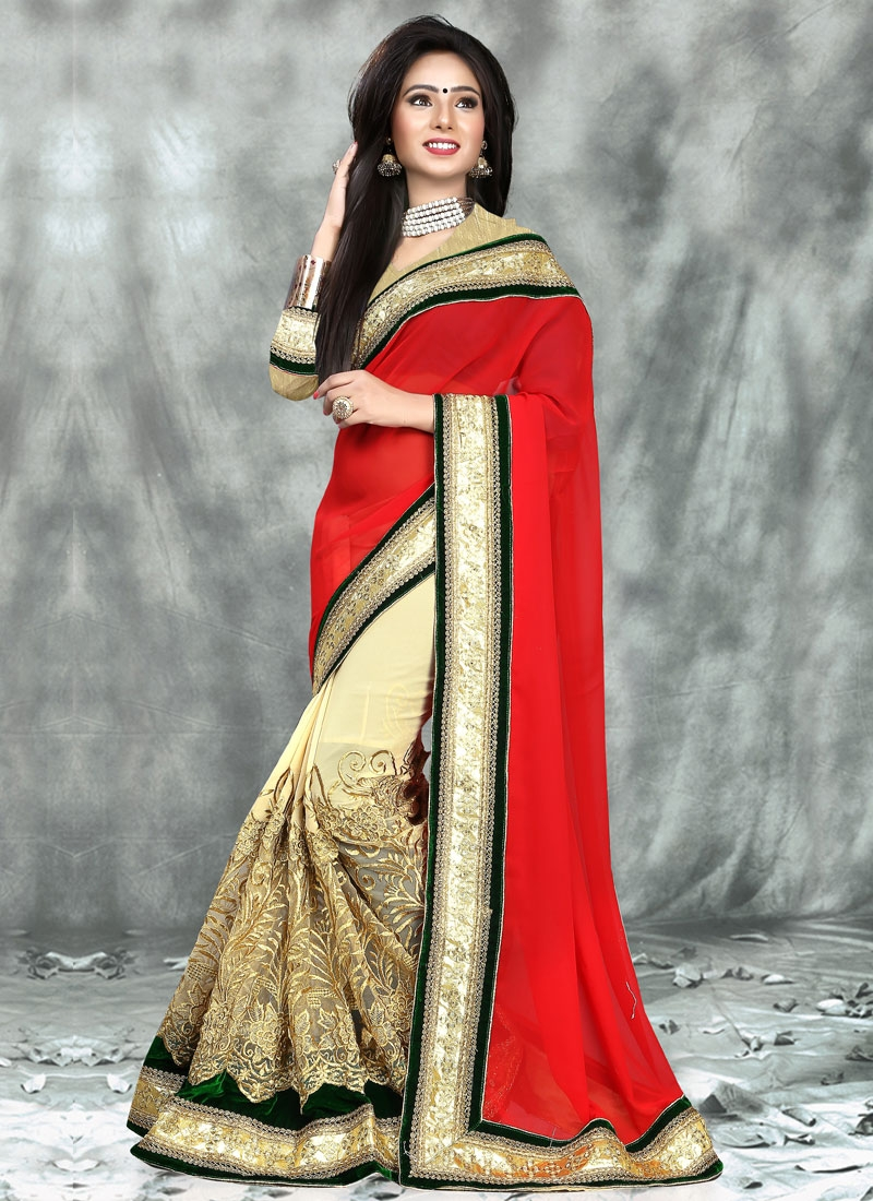 Delectable Velvet Patch Work Half N Half Wedding Saree
