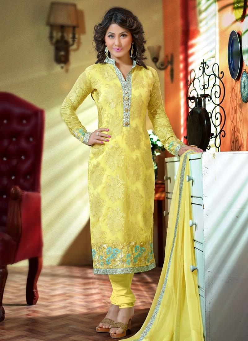 Delectable Yellow Color Hina Khan Churidar Salwar Suit