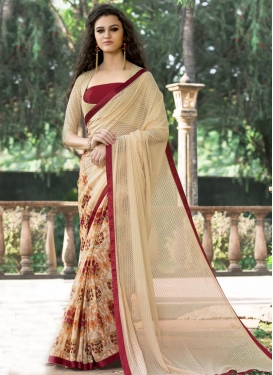 Delightful Beige and Cream  Net Half N Half Saree