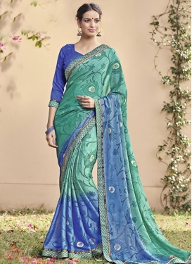 Delightful Blue and Sea Green Lace Work Trendy Classic Saree