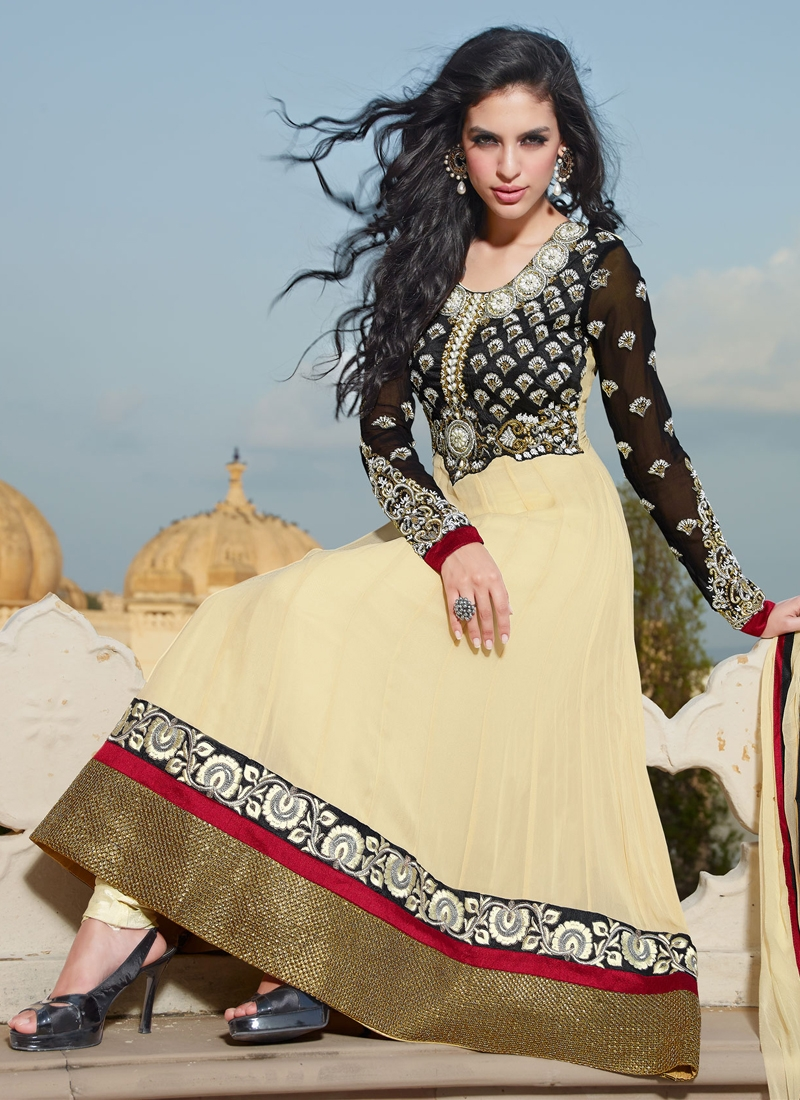 Delightful Cream And Black Anarkali Suit