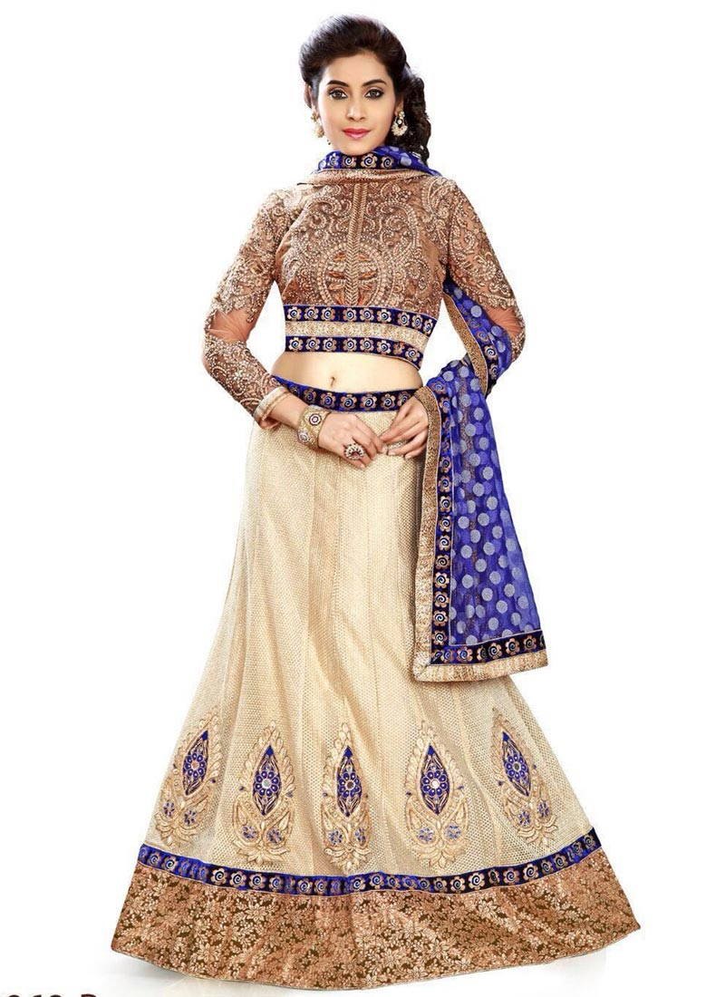 Delightful Cream And Blue Color Designer Lehenga Choli