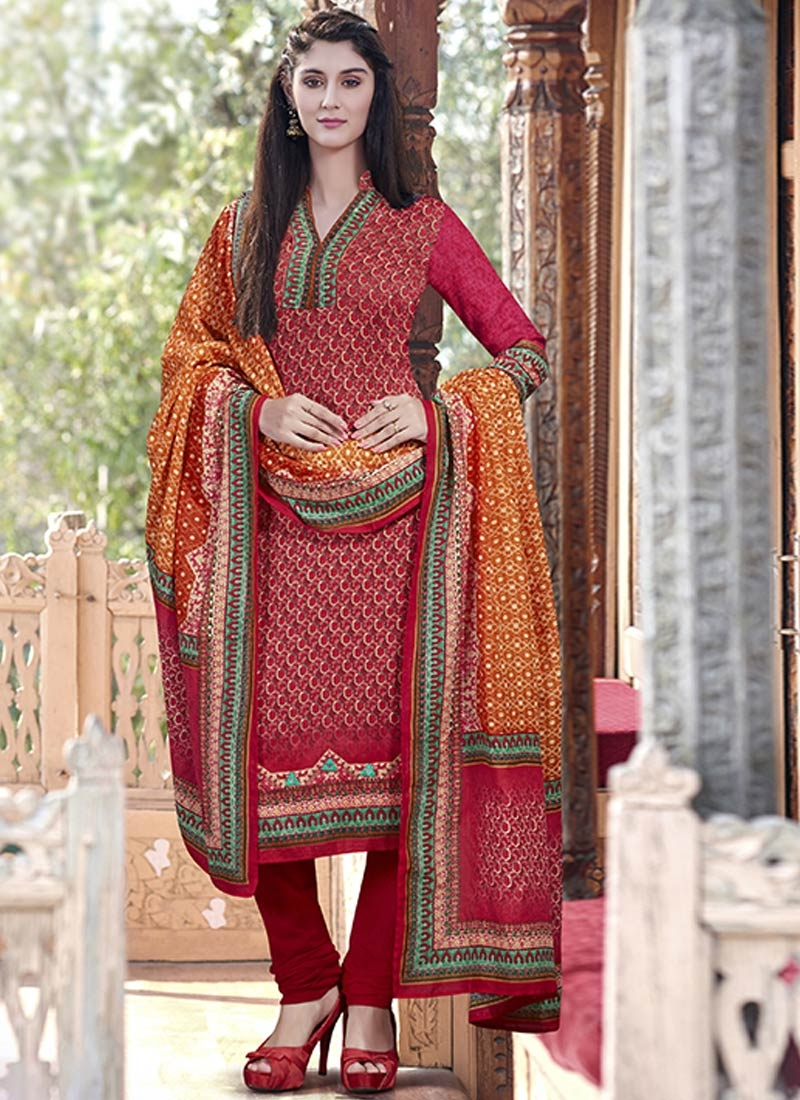 Delightful Digital Print Work Churidar Salwar Suit