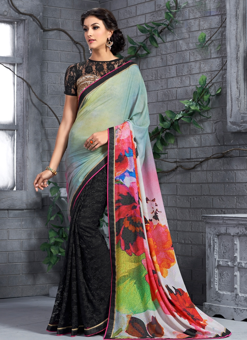 Delightful Digital Print Work Half N Half Party Wear Saree