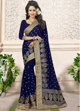 Delightful Embroidered Work Contemporary Style Saree