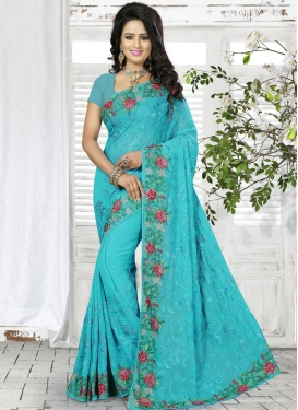 Delightful Faux Georgette Embroidered Work Contemporary Style Saree For Ceremonial