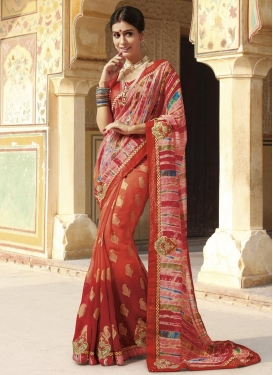 Delightful Faux Georgette Orange and Red Trendy Saree For Ceremonial