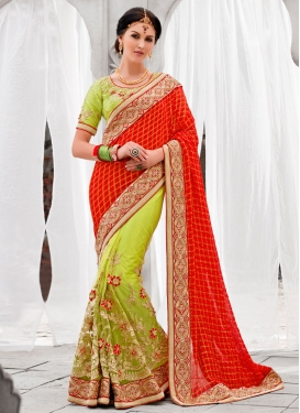 Delightful Floral And Beads Work Half N Half Wedding Saree