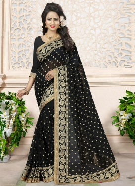 Delightful Georgette Beads Work Traditional Saree