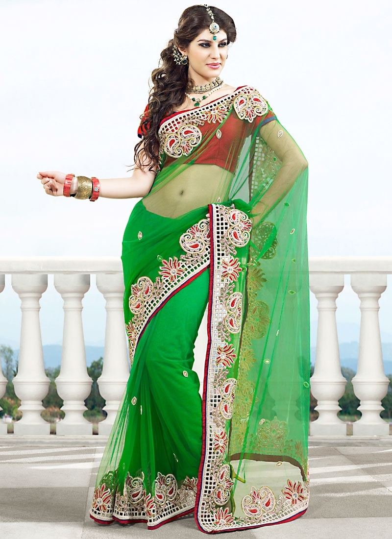 Delightful Green And Red Net Saree