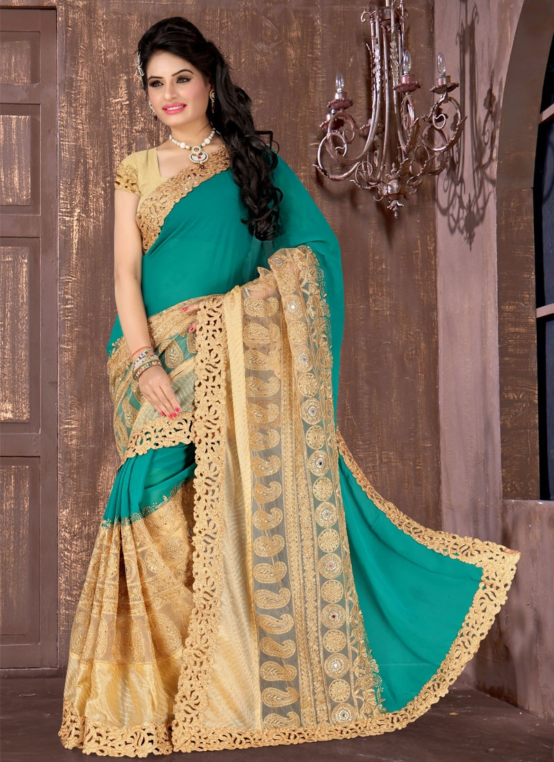 Delightful Lace And Stone Work Wedding Saree
