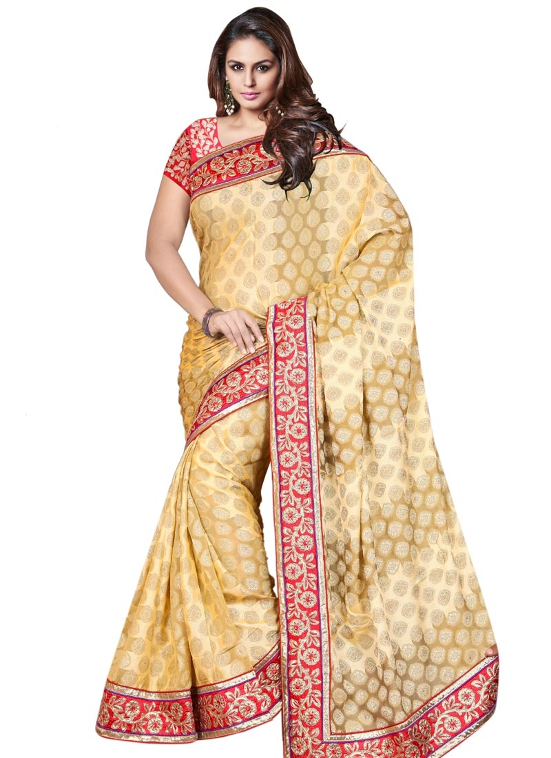 Delightful Lace Work Cream Color Party Wear Saree
