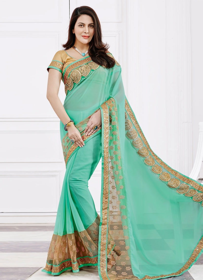 Delightful Lace Work Faux Chiffon Party Wear Saree