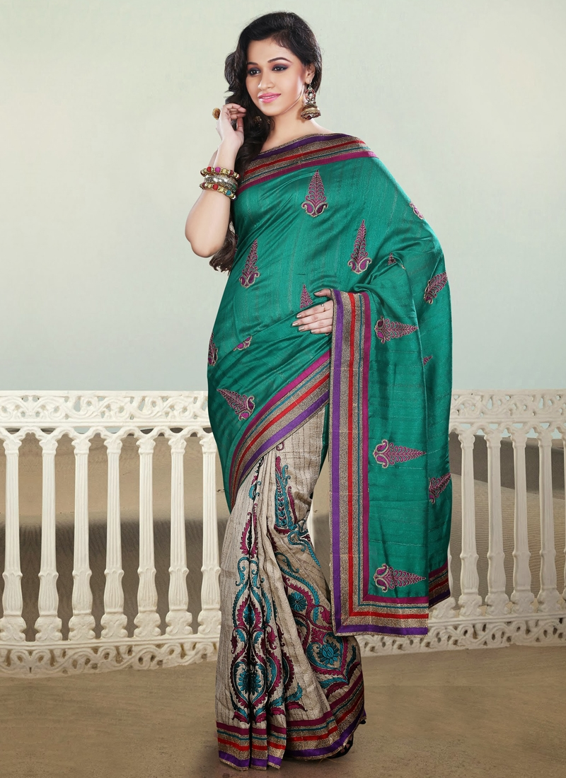 Delightful Off White And Teal Half N Half Saree