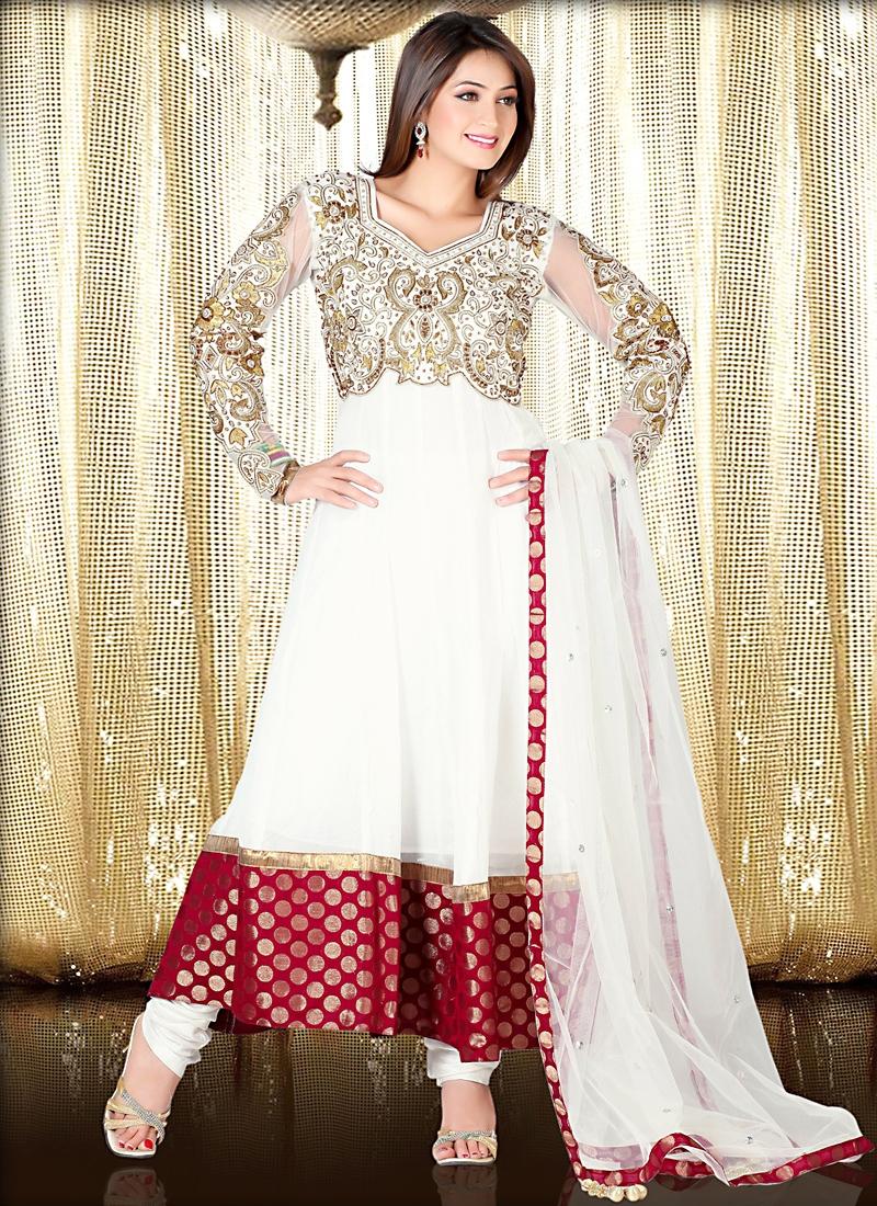 Delightful Off White Faux Georgette Anarkali Suit