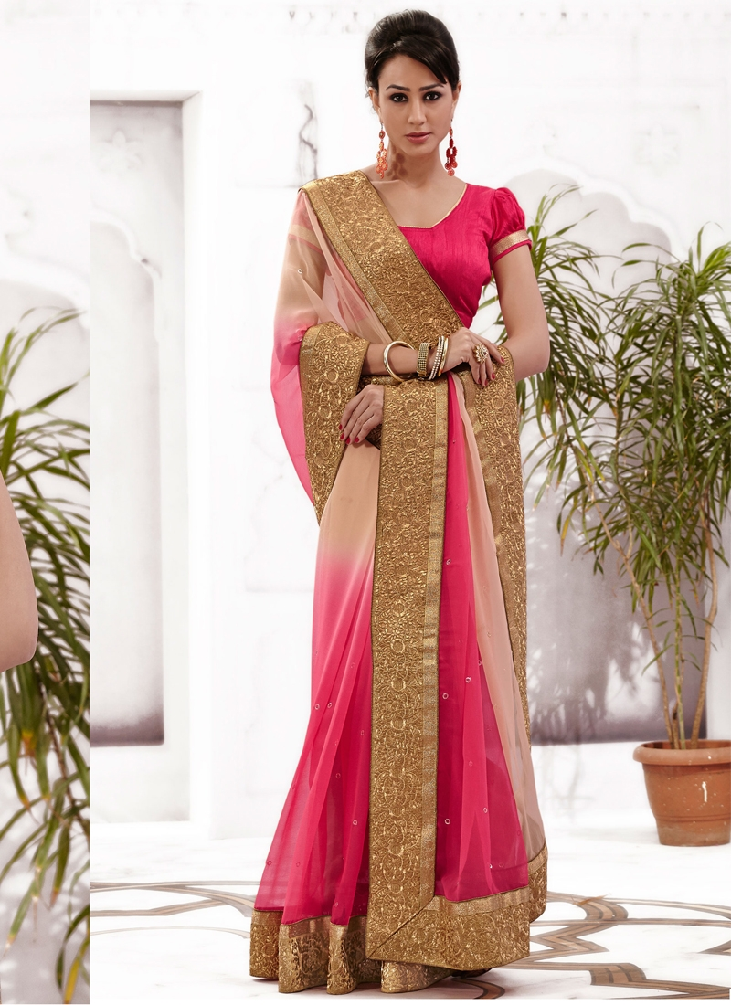 Delightful Peach And Rose Pink Color Party Wear Saree