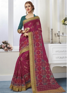 Delightful  Print Work Contemporary Saree For Casual