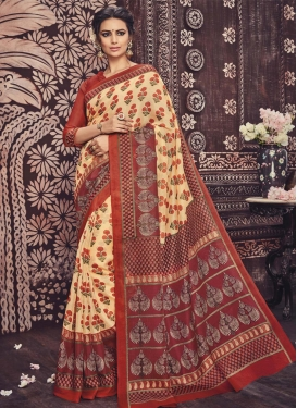 Delightful Print Work  Contemporary Style Saree For Casual