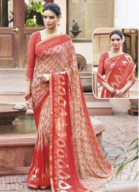 Delightful  Print Work Trendy Saree
