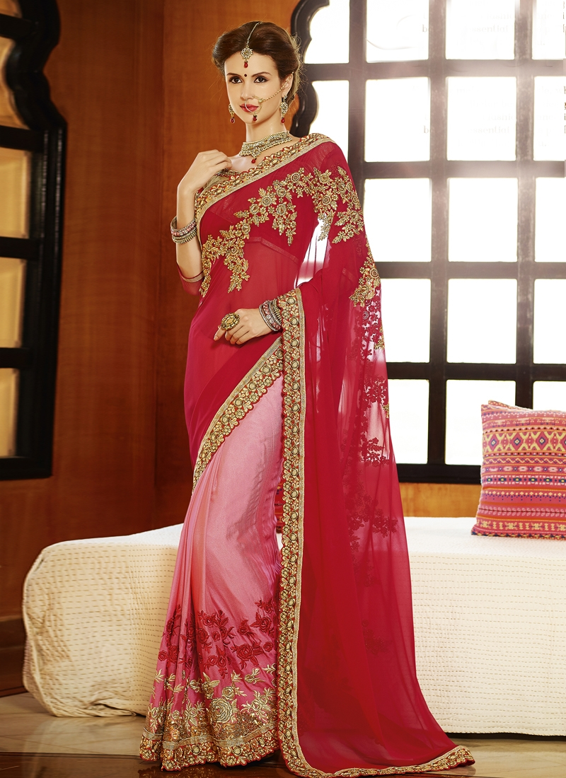 Delightful Red And Pink Color Half N Half Wedding Saree