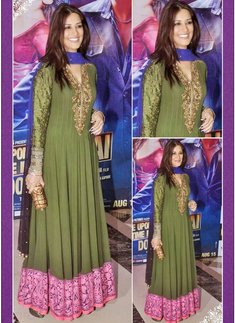 Delightful Resham Work Georgette Sonali Bendre Bollywood Salwar Kameez
