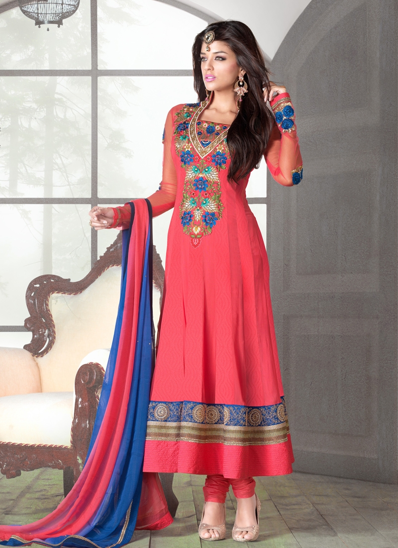 Delightful Salmon Color Anarkali Salwar Kameez