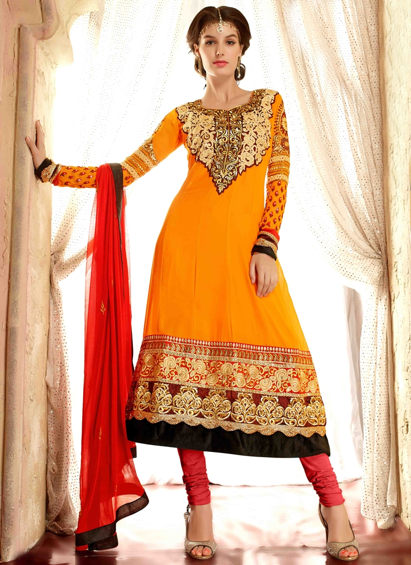 Delightful Stone And Lace Work Anarkali Suit