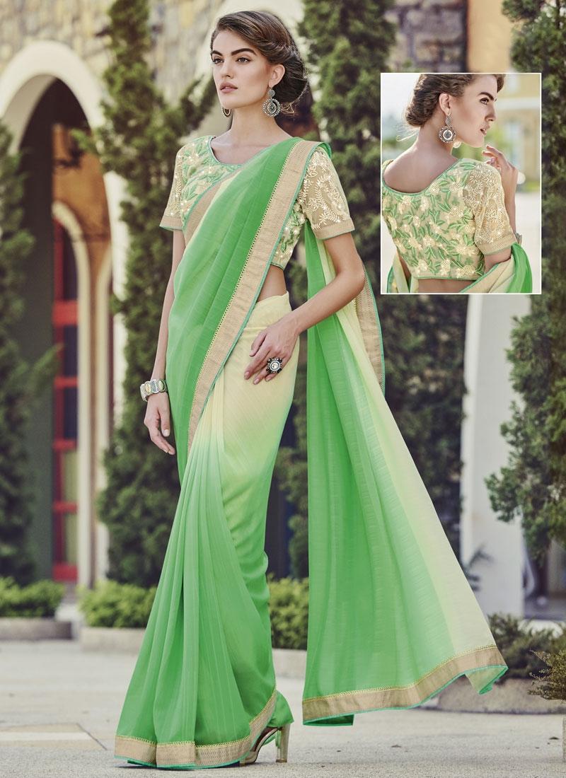 Delightsome Aloe Veera Green And Cream Color Party Wear Saree