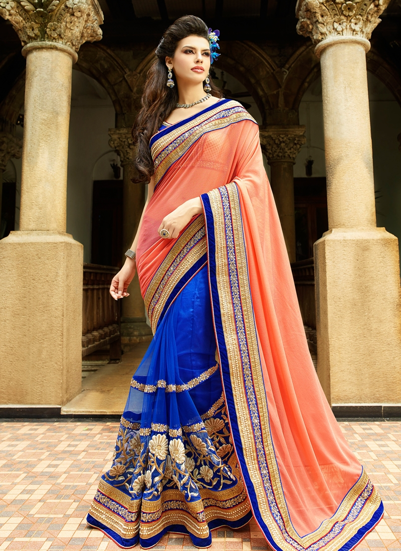 Delightsome Beads And Lace Work Half N Half Designer Saree