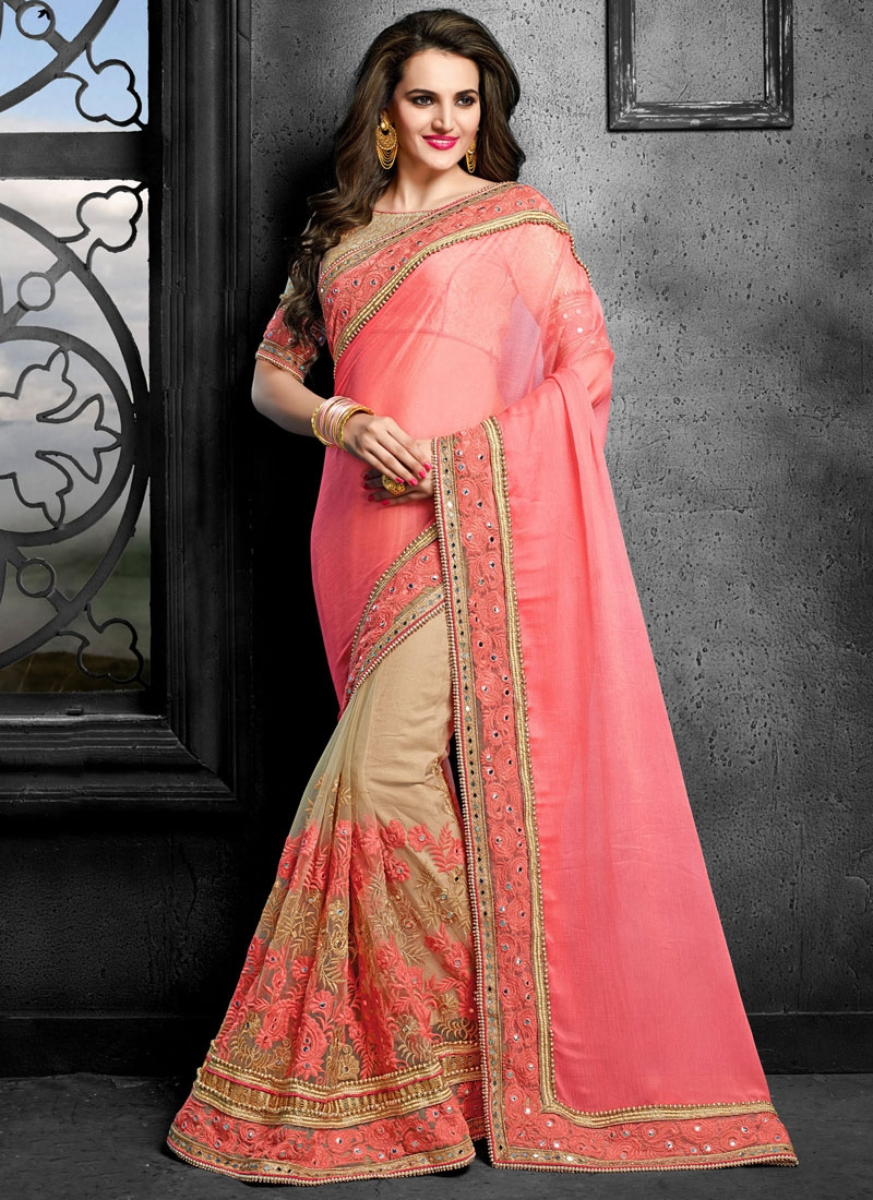 Delightsome Beads And Mirror Work Half N Half Wedding Saree