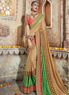Delightsome Beige and Green Traditional Designer Saree For Ceremonial