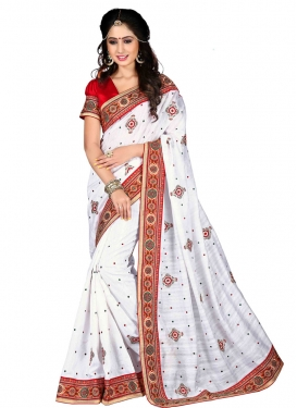 Delightsome Bhagalpuri Silk Resham Work Party Wear Saree