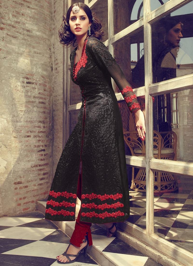 Delightsome Black Color Pant Style Designer Salwar Kameez