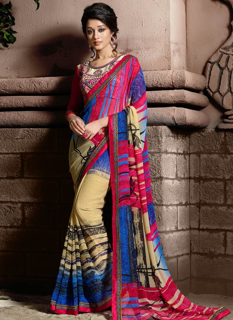 Delightsome Blue And Cream Color Casual Saree