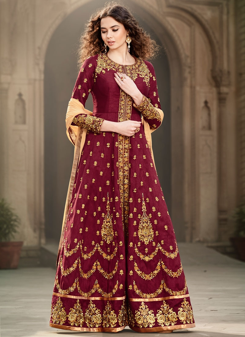 Delightsome Booti And Cutdana Work Long Length Wedding Salwar Suit