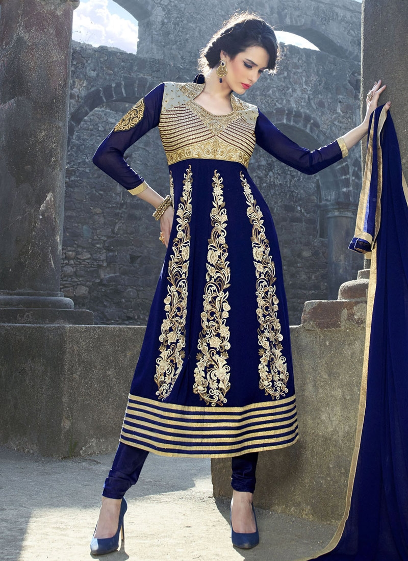 Delightsome Booti And Stone Work Anarkali Salwar Suit