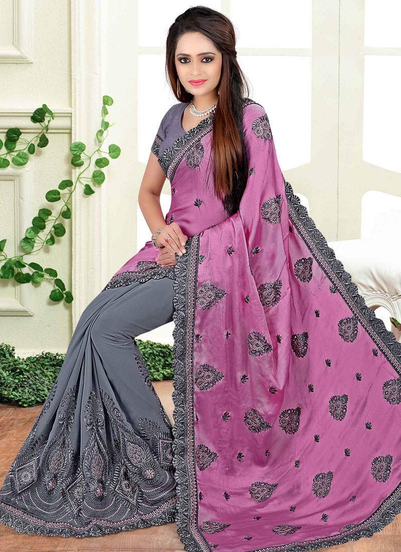 Delightsome Booti Work Half N Half Wedding Saree