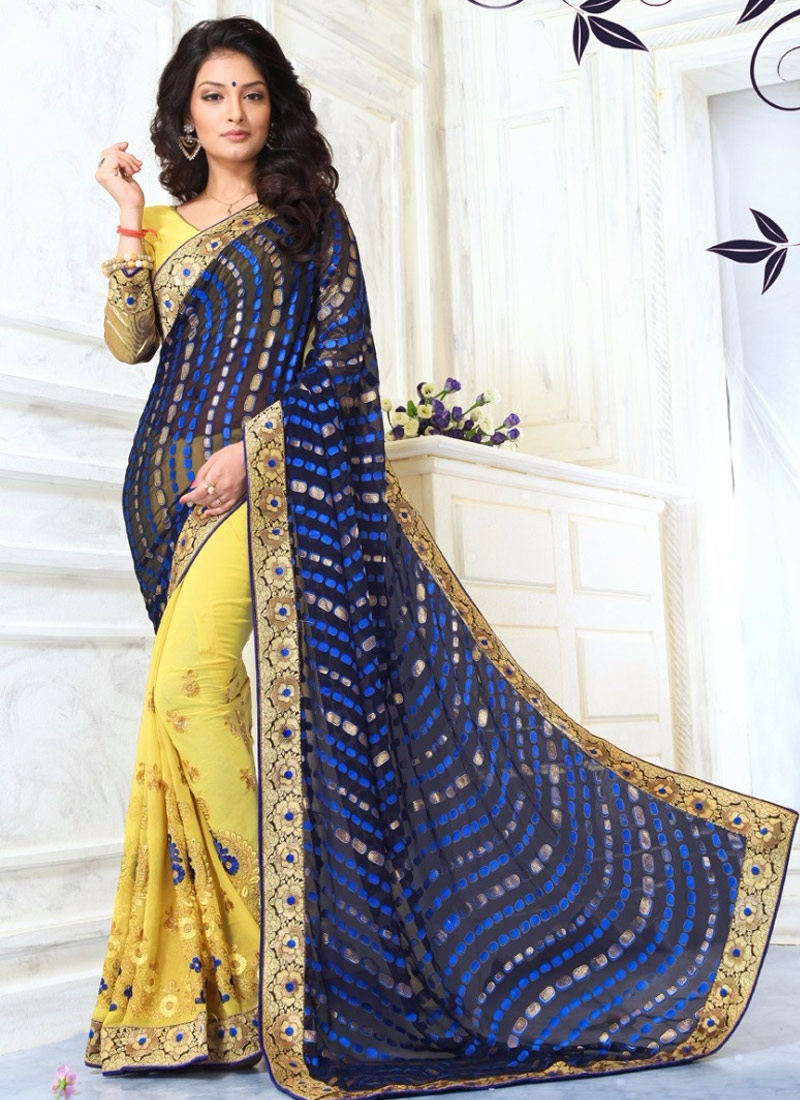 Delightsome Booti Work Yellow Color Half N Half Party Wear Saree