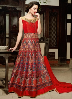 Delightsome Digital Print Work Silk Long Length Anarkali Salwar Suit