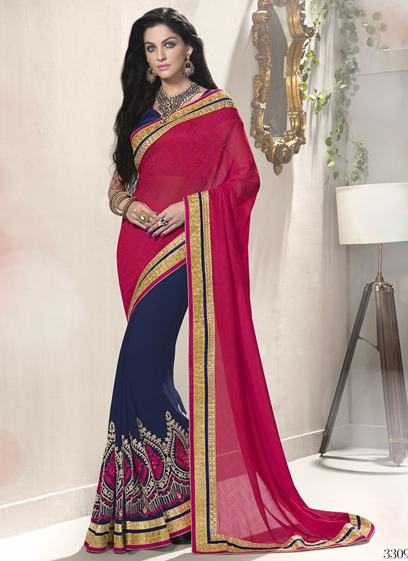 Delightsome Embroidery Work Half N Half Party Wear Saree