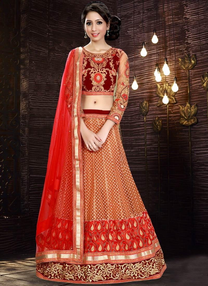 Delightsome Embroidery Work Net Wedding Lehenga Choli