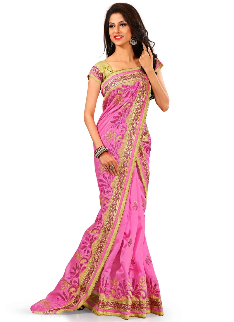 Delightsome Embroidery Work Party Wear Saree