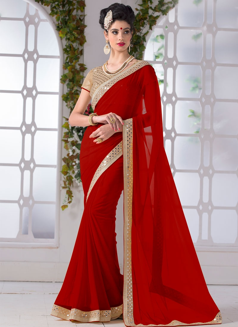 Delightsome Faux Chiffon Sequins Work Casual Saree