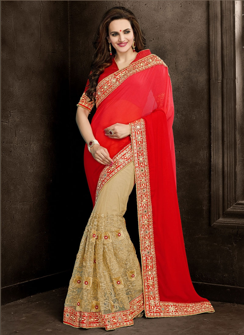 Delightsome Faux Georgette And Net Half N Half Wedding Saree