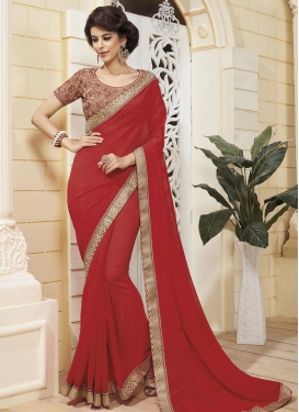 Delightsome Faux Georgette Designer Contemporary Style Saree For Ceremonial