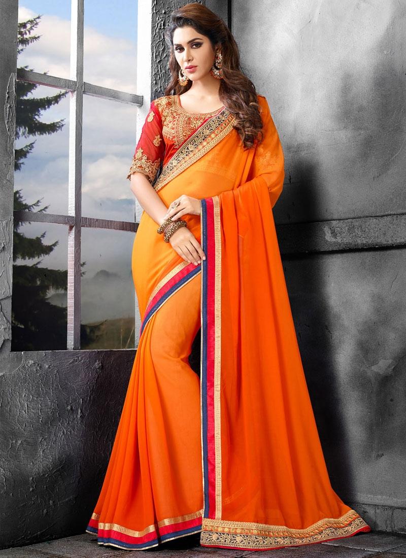 Delightsome Faux Georgette Orange Color Party Wear Saree