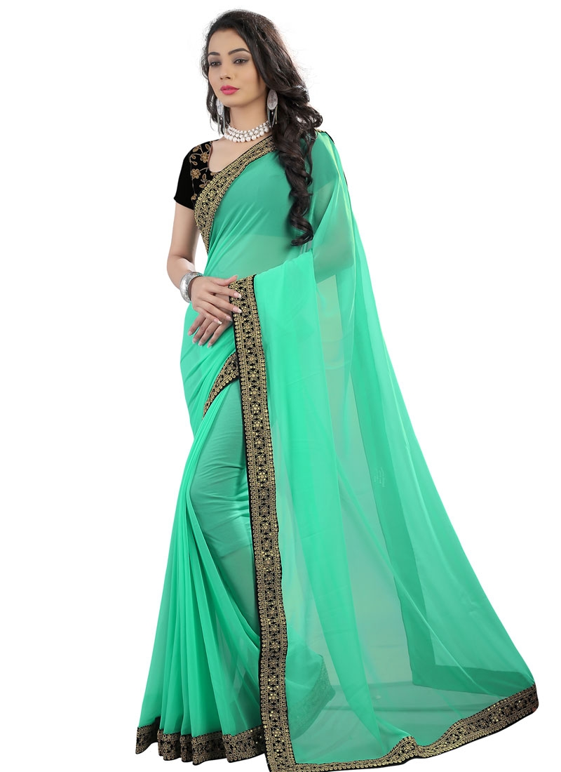 Delightsome Faux Georgette Sequins Work Party Wear Saree