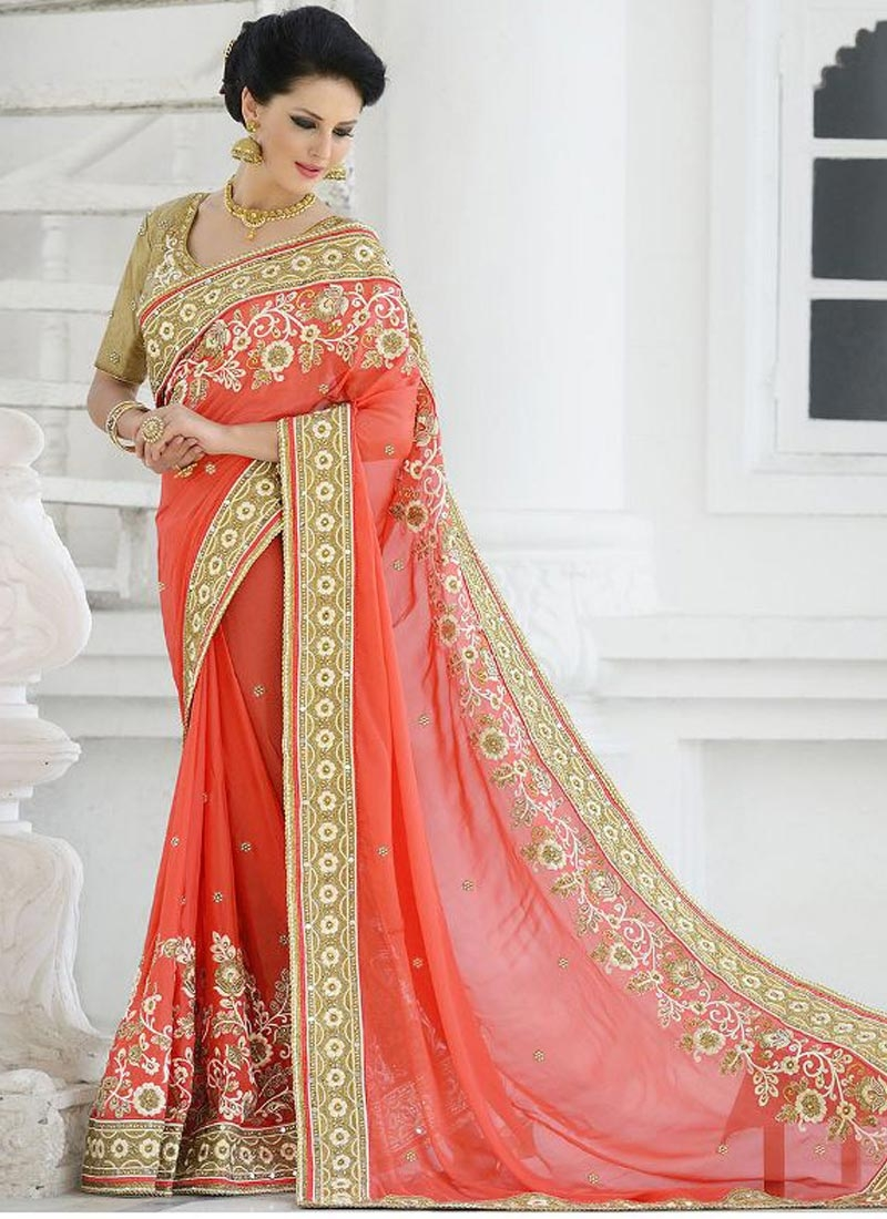 Delightsome Floral And Resham Work Wedding Saree